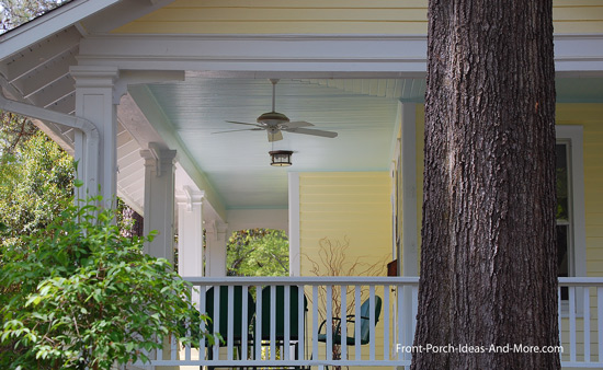 outdoor fan on wrap around porch with haint blue ceiling