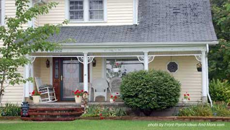 Quaint open porch with Victorian flair