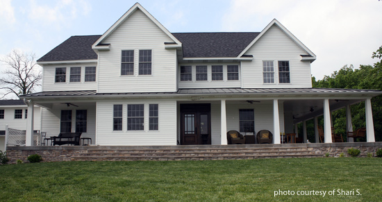 large wrap around country porch in country setting