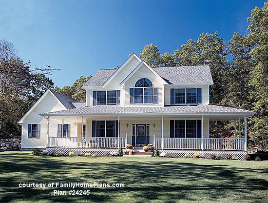Front porch plan from Family Home Plans #24245