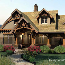 craftsman style home plan with front porch