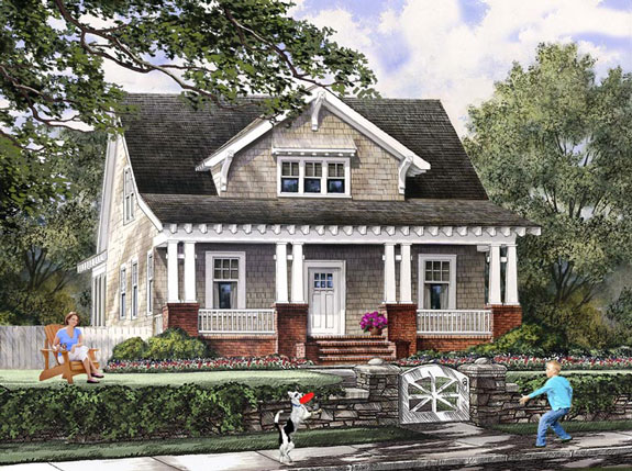 typical Craftsman-style home and front porch Family Home Plan # 86121