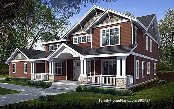 farmhouse craftsman home plan style Family Home Plan # 90757