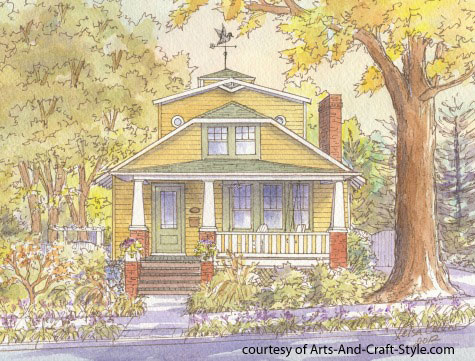 watercolor of craftsman style home by leisa collins