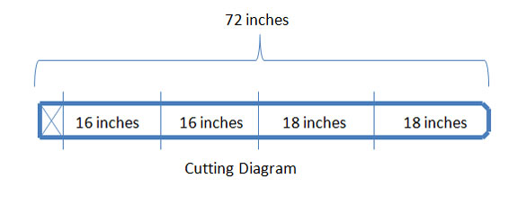 cutting diagram showing dimensions of porch display stand