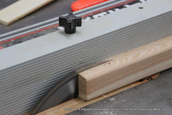 ripping 2x4 sections on table saw to make slats