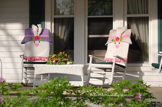 front porch decorated for Easter