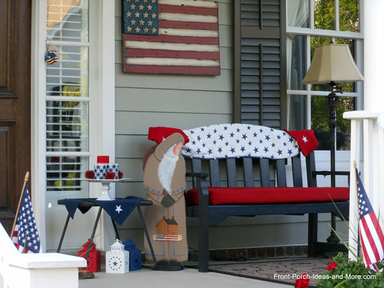 front porch uniquely decorated for the 4th of july
