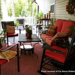 beautifully decorated front porch