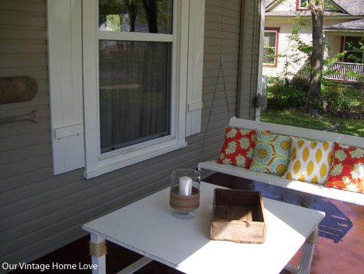 colorful porch cushions