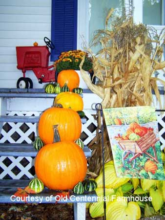 Pumpkins and gourds on Joni's front steps