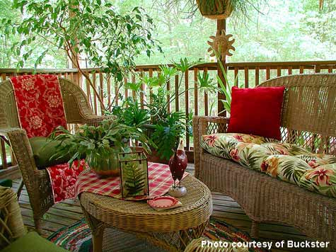 front porch decorated with red