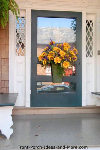Decorative front door wreath with sunflowers