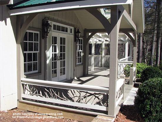 curved deck railing using mountain laurel wood