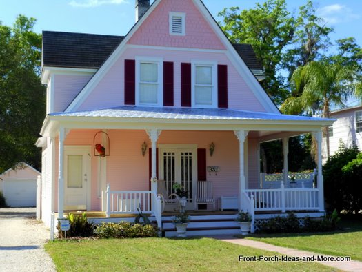 charming pink house and front porch