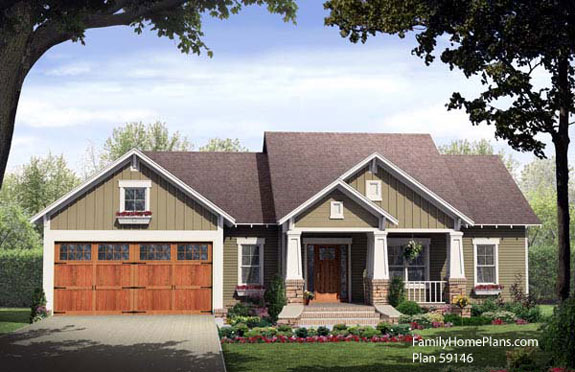 small house plan 59146 with cozy front porch by familyhomeplans.com