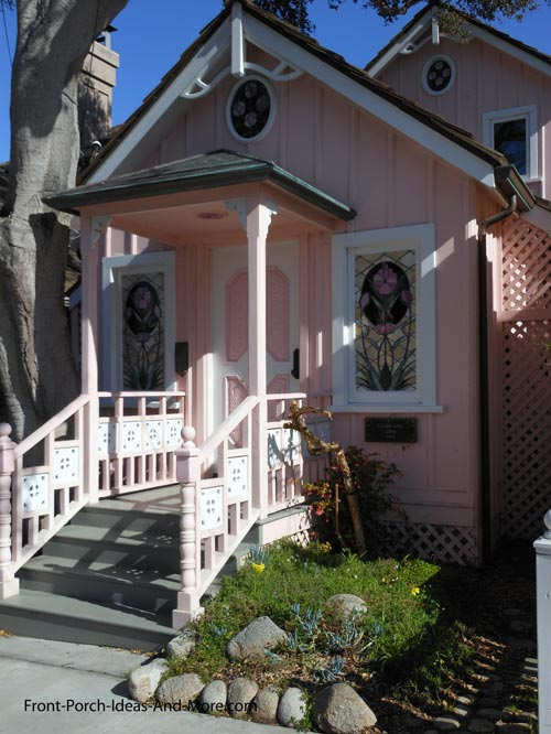 pink house with pink columns