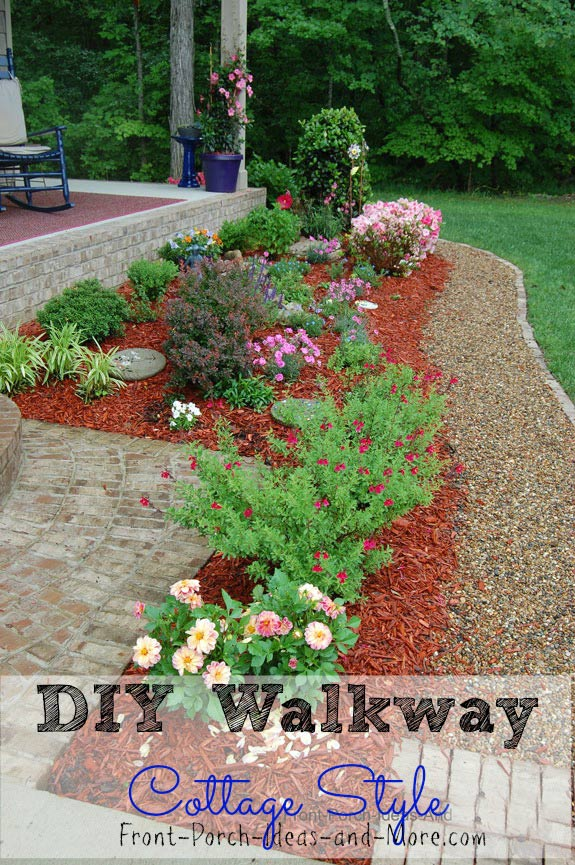 Our DIY cottage garden walkway and landscaping in front of porch. Full details and video are on our site.