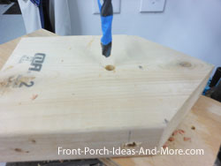 drilling holes for perches in bird houses