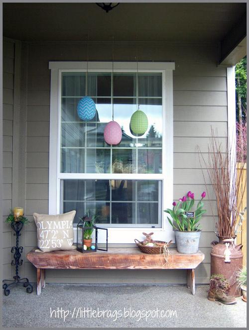 spring porch decor with bench