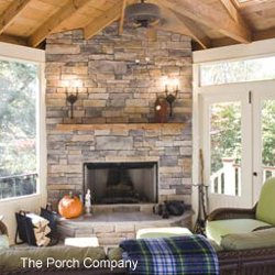 custom screen porch with fireplace