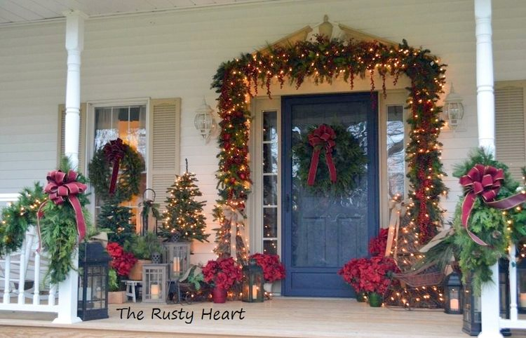 Denise and Audra's exquisite exterior christmas decorations on front porch