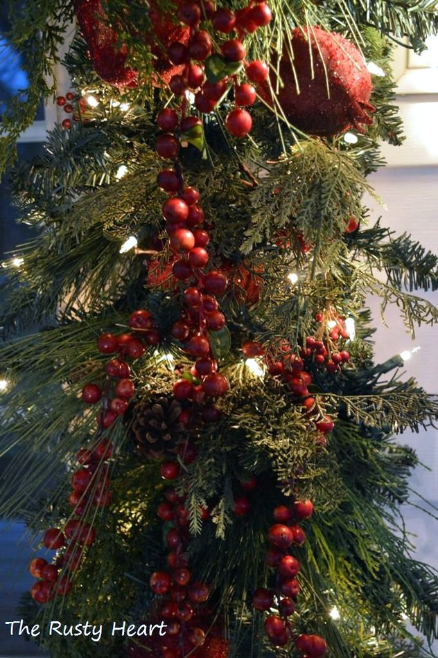 swags, berries and twinkly lights