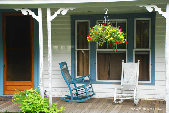 Classic screen door and rocking chair porch