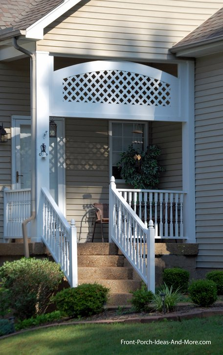 Exterior house trim used on this small porch creates a decorative arch and a bit of privacy