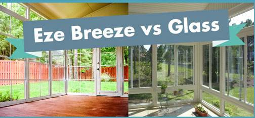 graphic showing differenc between glass and eze breeze windows