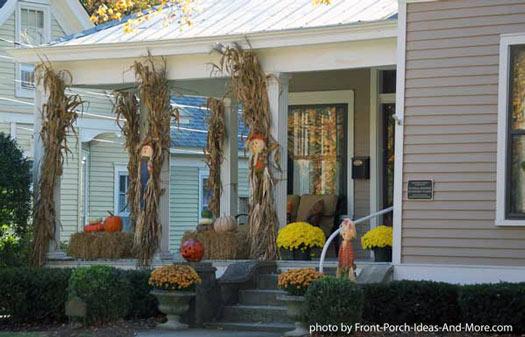 cornstalks attached to front porch columns