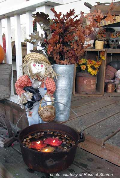 scarecrow and floating candle fall arrangement