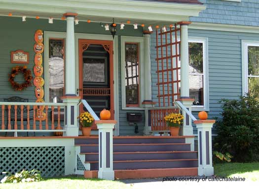 front porch decked out for fall