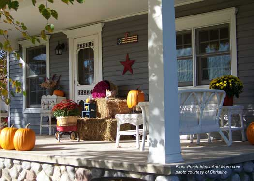 country fall porch with little red wagon