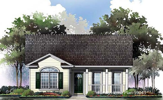 small home plan with porch