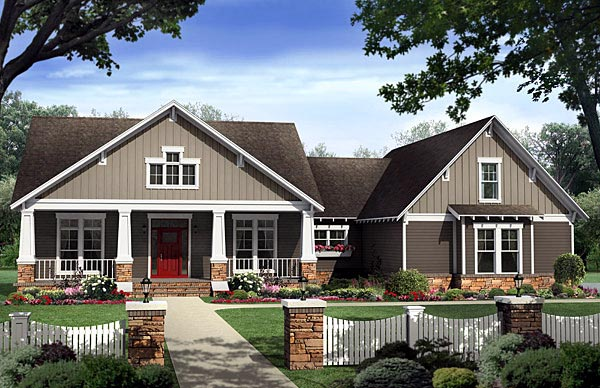 Bungalow floor plans bungalow style homes arts and for One level house plans with porch