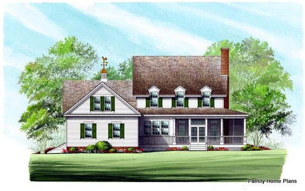 Back of beautiful farmhouse - Family Home Plans