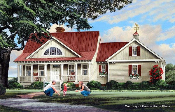 Adorable house with a sweet front porch from Family Home Plans #86347 and shown on Front Porch Ideas and More