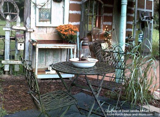 Dean's faux cabin porch - side view