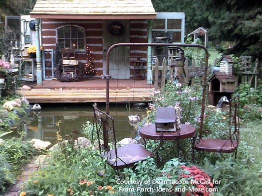 Dean's faux cabin porch - front view