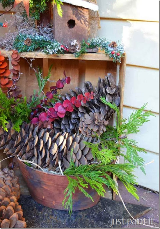 Just Paint It - fresh greenery, pinecones and birdhouse in cute crate