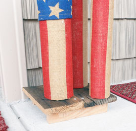 homemade firecrackers on platform on front porch