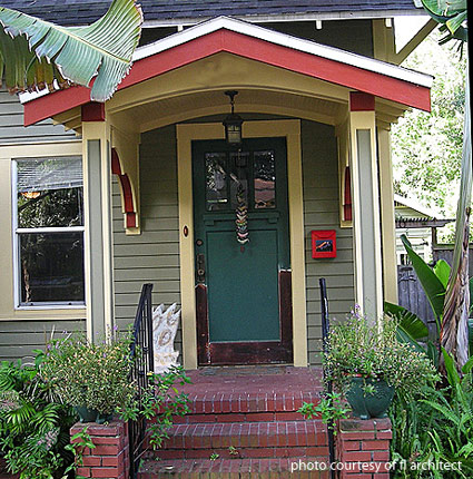 colorful arts and crafts porch