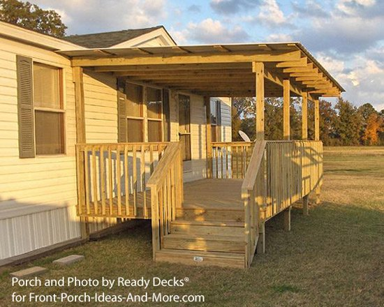 Nice Porch On Mobile Home With Double Staircase