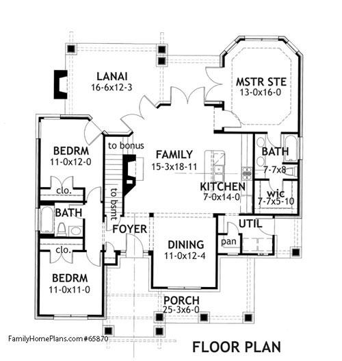interior floor plan of craftsman home Family Home Plan # 65870