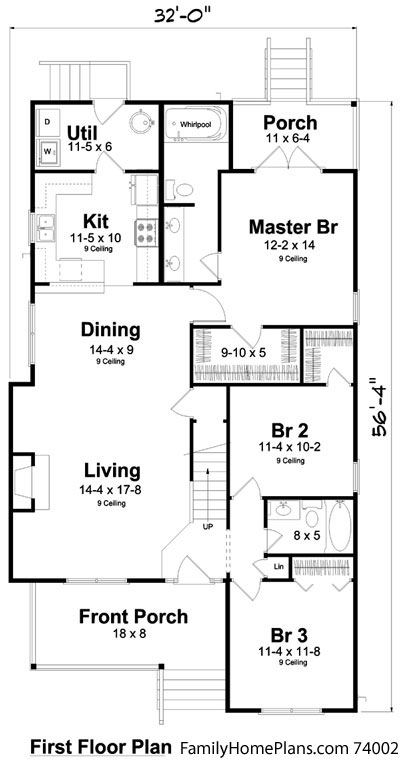 Bungalow style home plan diagram with small front porch from familyhomeplans.com 74002