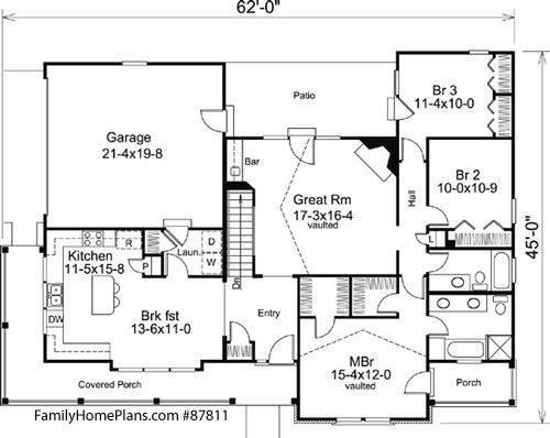 interior floor plan of craftsman home Family Home Plan # 87811