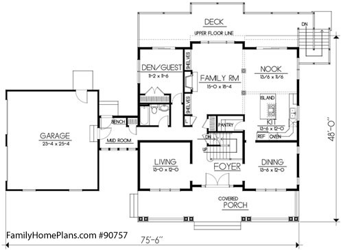 interior floor plan of craftsman home Family Home Plan # 90757