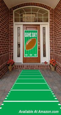 front door banner and football field runner