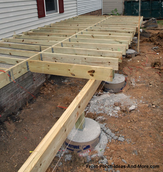 Porch foundations porch repairs porch footing for Foundation piers